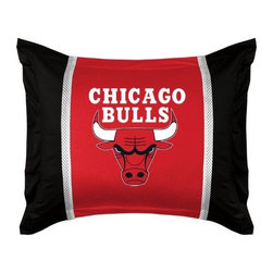Sports Coverage - NBA Chicago Bulls Sidelines Pillow Sham - Make that new officially licensed NBA Chicago Bulls Sidelines Pillow Sham look as good as it feels. A must have for any true fan. A New Design - Same great quality!! Show your team spirit with this officially licensed NBA Sham. Shams are 31 x 25 including flanged edges. 3 overlapping envelope closure is on back. 100% Polyester Jersey. Logo is screenprinted. Machine washable.