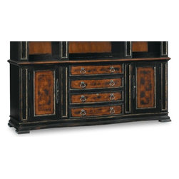 Hooker - Hooker Grandover Bookcase Base 5029-10265 - The Grandover Bookcase Base is a high-drama European traditional furniture piece updated for today with a modern outlook and functional details. It features a striking two-tone finish of exotic elegance, bordered by black hand-painting and hand-rubbed accents. Made of hardwood solids and select veneers. Best paired with a Bookcase Hutch.