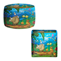 DiaNoche Designs - Ottoman Foot Stool - Jungle Party - Lightweight, artistic, bean bag style Ottomans. You now have a unique place to rest your legs or tush after a long day, on this firm, artistic furtniture!  Artist print on all sides. Dye Sublimation printing adheres the ink to the material for long life and durability.  Machine Washable on cold.  Product may vary slightly from image.