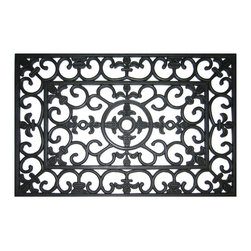 Entryways - Fleur Di Lys Recycled Rubber Doormat - Add an elegant welcoming accent to your doorway