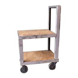 "Used Off White Vintage Industrial Rolling Cart - This refurbished vintage industrial rolling cart is very, very cool. The tall handle creates an interesting shape and make it easy to push while delivering drinks to your guests. An off white steel frame and rich wood shelves; 40"" from floor to handle."