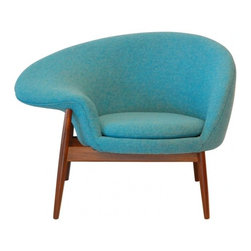 ecofirstart - The Egg Chair in the manner by Hans Olsen, Blue - A simple asymmetrical 'Fried Egg' Chair, in upholstery with a generous right arm and solid teak dowel leg frame. upholstery can be customed. Although Olsen was a student of Kaare Klint at the Royal Danish Academy's Furniture School from 1941 to 1943, he belongs to a group of Danish furniture designers who chose to experiment with both form and materials. In 1953, he set up his own studio where he designed and produced a series of exciting pieces in a distinctive style, exhibiting them at the annual fairs of the Cabinetmakers Guild in Copenhagen. One of his most notable designs is the Bikini Chair (1968) which like other chairs from his studio was in bent laminated wood. Though he was not one of the mainstream Danish modern school, he designed a range of items for furniture manufacturers including Bramin M�bler, Juul Kristensen, C.S. M�bler and Frem R�jle.