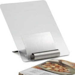 Focus Prod. Group Int'l Llc/kitchen - Stainless Steel Cookbook Stand with Cover - With an adjustable back this cookbook stand accommodates various sized books. Acrylic splash guard protects your cookbook from stains and can be removed for easy storage.
