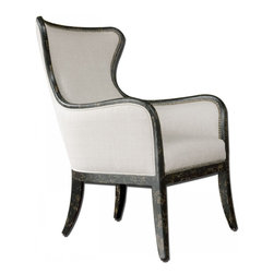 Uttermost - Uttermost Sandy Wing Chair - Shimmery, sandy white woven tailoring features Teflon fabric protector and brass nail accents. Exposed wood frame is solid white mahogany with reinforced joinery and hand applied, weathered black finish.