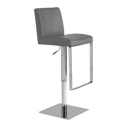 "Nuevo Living - Matteo Bar Stool, Grey - Matteo barstool features full 360 degree swivel and a gas lift mechanism so you can adjust your designed height from 20.5"" to 30.5"". Matteo Bar Stool is made from hardwood seat frame with CFS foam and top grain Italian leather. The modern design makes Matteo stool very versatile and offers height adjustability so you can use it just about anywhere."