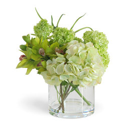 Winward Designs - Hydrangea/Cymbidium Green Flower Arrangement - Combine sage green Cymbidium orchids with cream hydrangeas and sage green snowballs and what do you have? One breathtakingly beautiful arrangement. Our sage advice would be to add this arrangement to your home.