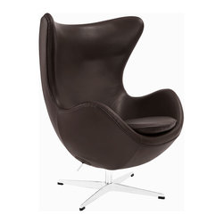 Leather Cell Chair in Espresso - Exaggerated wingtips and an organic, body-hugging form lend this espresso leather lounge chair a cozy, contemporary look. Place it in the living room or bedroom as the center of style, or use it as your main seat and pair with a footstool or ottoman in the reading nook.