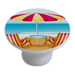 Carolina Hardware and Decor, LLC - Beach Chairs Umbrella Ceramic Cabinet Drawer Knob - 1 1/2 inch white ceramic knob with one inch mounting hardware.  Great as a cabinet, drawer, or furniture knob.  Adds a nice finishing touch to any room!
