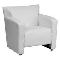 Flash Furniture - Majesty White Leather Chair - Having the right office waiting room furniture is essential for companies wanting to send the proper message to both clients and employees. Not only will this chair fit in a professional environment, but will add a chic look to your living room space. This leather chair will get the message sent properly with its uncomplicated yet attractive design to fit in a multitude of environments.