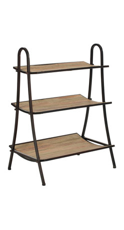 Safavieh - Safavieh Oswald 33 Inch Etagere in Natural Color with Black Brushed - Embrace all three layers of vintage modern French style with the Oswald Etagere. Crafted from solid fir wood with a natural finish and reclaimed look, and contrasted with iron brushed in black, it's an ideal spot for your best volumes and treasures waiting to be displayed. What's included: Etagere (1).