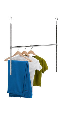Honey Can Do - Chrome Adjustable Hanging Closet Rod - Adjustable hanging closet rod. Double your hanging space. No tools or permanent installation required. Adjusting hanging height. Easy to get a level hanging surface. 38 in. wide of additional space. Lifetime limited warranty. Made from steel. Chrome finish. No assembly required. Center adjusts from 19 in. - 35 in.. 35 in. L x 1 in. W x 22.33 in. H (2.44 lbs.)