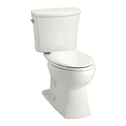 KOHLER - KOHLER Kelston Comfort Height Two-Piece Toilet with 1.28 GPF and Elongated Bowl - KOHLER K-3755-0 Kelston Comfort Height Two-Piece Toilet with 1.28 GPF and Elongated Bowl in White