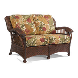 Wicker Paradise - Wicker Rattan Loveseat - Casablanca - Wicker rattan loveseat is made of Premium quality herringbone woven wicker on a sturdy rattan and wood frame. Features bottom and back cushions in your choice of fabric with comfort decking.