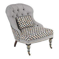 ecofirstart - Underpinnings Accent Chair - Mingling Courtly Check and ticking stripes, the stage is set for a lively exchange of ideas. Made in the U.S., the Accent Chair features an eco-friendly frame of sustainably harvested hardwood and eight-way hand-tied coil construction for outstanding comfort. Antique brass nailhead trim and castered legs. Includes one reversible Courtly Check/ticking stripe lumbar pillow.
