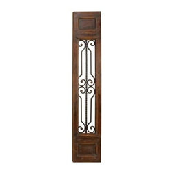 Aspire - Wood & Metal Wall Panel - Add some weight to your space with this wooden wall panel. Features a handsome design reminiscent of an antique door with metal scroll decorations in the center. Can be hung vertically or horizontally. Works great as a substitute for a head board. Or purchase two to decorate a large empty wall. Wood. Color/Finish: Antique brown. 71 in. H x 14 in. W x 2 in. D. Weight: 18 lbs.