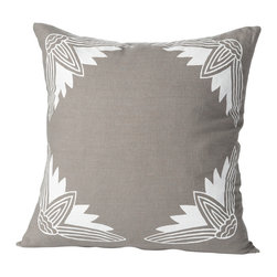 Cricket Radio - Alexandria Lotus Pillow, Stone/White - Sink into soft, classic style with this pillow hand-printed on pre-shrunk Italian linen. It features your choices of soft colors, ecofriendly inks, and a down insert which can be removed for easy cleaning. At 20 inches square, it's a perfect addition to your bed, bench or sofa.