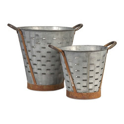 iMax - Vintage Pierced Bucket, Set of 2 - These vintage inspired iron buckets feature bands and handles with a rich rust patina and are pierced around the circumference. Use them to hold kindling next to the fireplace, potpourri, or dry decorative filler.