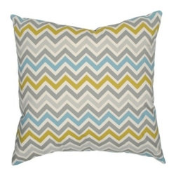 "Elisabeth Michael - Chevron Pillow - Features: -Material: 100% Cotton. -Zippered closure. -Home decor weight fabric. -Cover with feather down insert. -Fabric is the same on both front and back. -Spot wash or use woolies to wash. -Air dry. -Made in the USA. Dimensions: -20"" H x 20"" W x 4"" D, 2 lbs."
