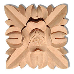 "Inviting Home - Carolina Large Wood Rosette - Red Oak - wood rosette in red oak 3-3/4""H x 3-3/4""W x 7/8""D Wood rosettes are hand carved in deep relief design from premium selected North American hardwoods such as alder beech cherry hard maple red oak and white oak. They are triple sanded and ready to accept stain or paint. Hardwood rosettes are perfect for wall applications finishing touches on the custom cabinets or creating a dramatic focal point on the fireplace mantel."