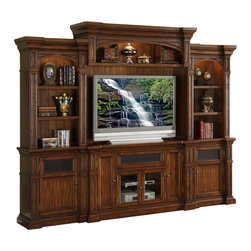 Legends Furniture - Berkshire Super Wall Unit - Includes TV console, right pier, left pier and cabinet bridge with back panel. Limited lifetime warranty. Made from glass, solid poplar, PB and MDF with birch veneer. Old world umber finish. TV console:. Two side doors. Two shelves behind left door. One drop drawer. Two center doors with glass panel. Two shelves behind doors. Provision for cable management. Side door: 9.38 in. W x 26.88 in. H. Center door: 13.38 in. W x 17.25 in. H. Overall: 60 in. W x 20 in. D x 36 in. H. Pier:. Three shelves on each pier. Bottom cabinet with door. Overall pier: 30 in. W x 20 in. D x 86 in. H. Cabinet bridge with back panel:. 38 in. wide TV area. Cabinet bridge: 62 in. W x 20 in. D x 24 in. H. Shelf: 20.25 in. W x 12.25 in. D. Overall: 62 in. W x 20 in. D x 24 in. H. Assembly Instructions