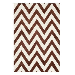 Safavieh - Giuseppina Hand Tufted Rug, Dark Brown / Ivory 4' X 6' - Construction Method: Hand Tufted. Country of Origin: India. Care Instructions: Vacuum Regularly To Prevent Dust And Crumbs From Settling Into The Roots Of The Fibers. Avoid Direct And Continuous Exposure To Sunlight. Use Rug Protectors Under The Legs Of Heavy Furniture To Avoid Flattening Piles. Do Not Pull Loose Ends; Clip Them With Scissors To Remove. Turn Carpet Occasionally To Equalize Wear. Remove Spills Immediately. Bring classic style to your bedroom, living room, or home office with a richly-dimensional Safavieh Cambridge Rug. Artfully hand-tufted, these plush wool area rugs are crafted with plush and loop textures to highlight timeless motifs updated for today's homes in fashion colors.