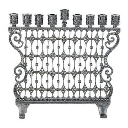 Frontgate - Cami Menorah - Christmas Decorations - Cast pewter Hanukkah menorah. Hundreds of hand-set jonquil, gold and topaz Swarovski crystals. Choice of antique brass or gunmetal finish. Clean with soft, dry cloth. Edged in ornate scrolling and embedded with Swarovski crystals, this cast pewter menorah merits the limelight. Sophisticated designing embraces the luminance of crystals and complements religious holiday decor. Perfect for Hanukkah celebrations. .  .  .  .  . Imported.