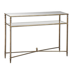 Uttermost - Uttermost Henzler Mirror Top Console Table w/ Iron Frame & Glass Shelf - Mirror Top Console Table w/ Iron Frame & Glass Shelf belongs to Henzler Collection by Uttermost Forged iron frame and iron cross stretchers in antiqued gold leaf. Top is reinforced mirror and gallery shelf is clear tempered glass. Console Table (1)