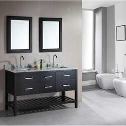 """Design Element - Design Element London 61"""" Double Vanity with Open Bottom - Espresso - The London 61"""" Double Sink Vanity Cabinet, constructed with solid wood, provides a contemporary design perfect for any bathroom remodel. The ample storage in this free-standing vanity includes two flip-down shelves and four fully functional drawers each accented with brushed nickel hardware as well as an open shelf at the base of the cabinet. This vanity cabinet is available in an espresso or white finish.You have the option to add a White Carrera Marble Countertop with white porcelain sinks, pop-up drains and matching mirrors to make your own complete bathroom vanity set. Features Solid wood cabinet Two large drawers, and two center drawers, two flip down panels, satin nickel finish hardware. Available as a Vanity Set including: White Carrera Marble Countertop, White Porcelain Sink, Pop up Drain, Matching Mirrors Faucet(s) not included Manufacturer provides 1 year warranty How to handle your counter Natural stone like marble and granite, while otherwise durable, are vulnerable to staining from hair dye, ink, tea, coffee, oily materials such as hand cream or milk, and can be etched by acidic substances such as alcohol and soft drinks. Please protect your countertop and/or sink by avoiding contact with these substances. For more information, please review our """"Marble & Granite Care"""" guide."""