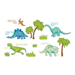 "WallPops - Dinosaur Expedition Wall Decals - This prehistoric dinosaur decal kit will be all the rage with your little one! Create an entire land before time scene with these dinosaur theme wall stickers, including trees and labels.This wall art kit contains 42 pieces on two 17.25"" x 39"" sheets. WallPops are repositionable and always removable."