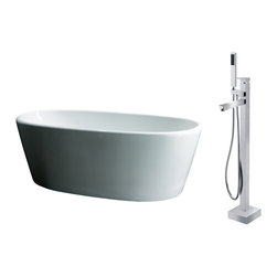 """AKDY - AKDY 67"""" AK-ZF248+8711 Euro Style White Acrylic Free Standing Bathtub w/ Faucet - AKDY free standing acrylic bathtubs come in many styles, shapes, and designs. The acrylic material used for tubs is very durable, light weight, and can be molded into a variety of shapes and styles which explain the large selection available in this product category. Acrylic free standing tubs are a cost efficient way to give your bathroom a unique beautiful touch. A bathtub is no longer just a piece of cast iron metal thrown into a bathroom by a builder."""