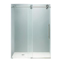 "VIGO Industries - VIGO 60-inch Frameless Shower Door 3/8"" Clear/Stainless Steel Hardware - Make your bathroom an oasis with a VIGO frameless shower door."