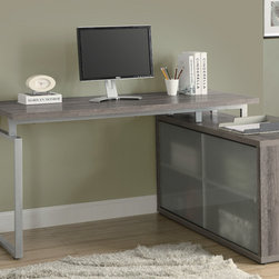 Monarch Specialties - Monarch Specialties 7335 Shaped Desk in Dark Taupe - This simple yet practical hollow-core desk is the perfect addition to your home office. The dark taupe reclaimed wood-look finished desk can conveniently be placed on the left or right side offering you multi functionality. The underside provides you with space to store office supplies  papers  books  files folders  and plenty more behind beautiful frosted sliding glass doors. Use the spacious top for your computer  a lamp and even some pictures. This large work station with fit in perfectly into any space.