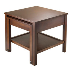 """Winsome Wood - Winsome Wood Brandon Expandable End Table - Expandable End Table belongs to Brandon Collection by Winsome Wood Brandon Expandable Table Collection creates a unique look for your living room and provide extra space when needed. Each table comes with a bottom shelf and pull out table on casters. Constructed with combination of solid and composite wood in Antique Walnut Finish. End Table overall expanded size is 20.16""""W x 34.13""""D x 18.39""""H. Upper table top dimension is 20""""W x 20""""D. Pull out Table Top is 16.61""""W x 13.98""""D. Bottom shelf is 19.29""""W x 16.93""""D. Assembly Required. End Table (1)"""