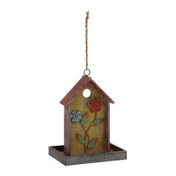 UMA Enterprises - UMA Enterprises Flowered House Bird Feeder - Brown - 97171 - Shop for Feeders from Hayneedle.com! Not only does the UMA Enterprises Flowered House Bird Feeder Brown offer a safe and comfortable home for your feathered friends it also doubles as a feeder where they can get a peck to eat. Made from quality wood and metal designed to withstand anything nature throws its way this bird house feeder is finished in distressed brown with painted applied flower design. A wide rim frame and a circular opening complete the pretty picture. Simply hang it in your yard to enjoy the company of your feathered friends all the year round.