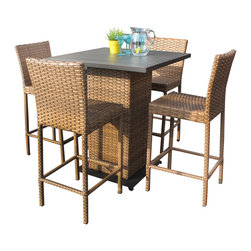 TKC - Tuscan Pub Table Set With Barstools 5 Piece Outdoor Wicker Patio Furniture - Features: