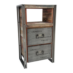 Salvaged Boat Wood 2 Drawer, 2 Shelf Cabinet - Made from salvaged fishing boat wood and steel.  Modern, rustic & industrial.