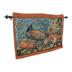 n/a - Susan Winget Harvest Pheasant Wall Hanging with Rod - This fully lined and woven tapestry is adorned with fall vegetables to perfectly complement the time of the season! This tapestry measures 36 inches x 26 inches and is made of a 55% polyester and 45% cotton blend. This piece is proudly made in the U.S.A., and hanging hardware included.