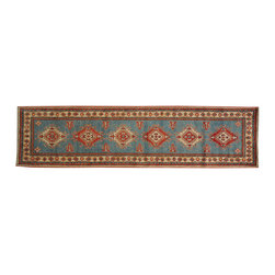 1800-Get-A-Rug - Hand Knotted Kazakh Runner Sky Blue 100% Wool Oriental Rug Sh18285 - Our tribal & geometric hand knotted rug collection, consists of classic rugs woven with geometric patterns based on traditional tribal motifs. You will find Kazak rugs and flat-woven Kilims with centuries-old classic Turkish, Persian, Caucasian and Armenian patterns. The collection also includes the antique, finely-woven Serapi Heriz, the Mamluk Afghan, and the traditional village Persian rug.