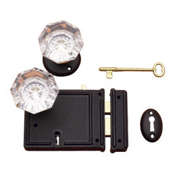 """Renovators Supply - Rim Locks Black Steel/Zinc Glass Knob 5""""x 3 1/4"""" Rim Lock - Rim Latch: This Black Steel/Zinc, Rim Latch locks with a skeleton key to activate a deadbolt. Rose, faceted glass knobs and a pair of skeleton keys included. Size is 5""""x3 1/4""""."""