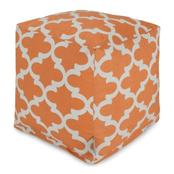 Majestic Home Goods - Peach Trellis Small Cube - Add style and color to your living room or bedroom with Majestic Home Goods Trellis small cube ottoman. This cube is perfect for use as a footstool, side table or as extra seating for guests. Woven from cotton duck or twill, these cube ottomans are durable yet comfortable. The beanbag inserts are eco-friendly by using up to 50% recycled polystyrene beads, and the removable zippered slipcovers are conveniently machine-washable. Wash in cold water with a mild detergent such as Wool-Lite and hang dry. Wash in cold water with a mild detergent such as Wool-Lite and hang dry.