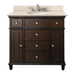 Walnut Bathroom Vanities - Walnut Bathroom Vanities in walnut finish a beautiful transitional design with classic lines. Constructed of solid birch wood and birch veneers, brushed nickel hardware, soft-close drawer guides and hinges. The vanity set includes a galala beige marble top and an undermount sink. The coordinating mirror adds to the set and completes this collection.
