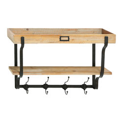 None - Functional Multilevel Wall Shelf with Hooks - Both attractive and functional,this wall shelf will enhance your decor while at the same time offering storage space. Including four convenient hooks to hang anything from jackets to hats,this unit is made from durable wood and metal.