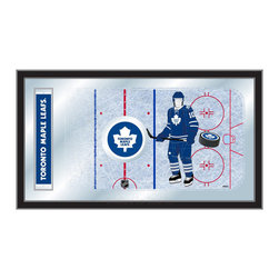 "Holland Bar Stool - Holland Bar Stool Toronto Maple Leafs Hockey Rink Mirror - Toronto Maple Leafs Hockey Rink Mirror belongs to NHL Collection by Holland Bar Stool The perfect way to show your team pride, our hockey rink mirror displays your team's symbols with a style that fits any setting.  With it's simple but elegant design, colors burst through the 1/8"" thick glass and are highlighted by the mirrored accents.  Framed with a black, 1 1/4 wrapped wood frame with saw tooth hangers, this 15""(H) x 26""(W) mirror is ideal for your office, garage, or any room of the house.  Whether purchasing as a gift for a recent grad, sports superfan, or for yourself, you can take satisfaction knowing you're buying a mirror that is proudly Made in the USA by Holland Bar Stool Company, Holland, MI.   Mirror (1)"