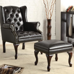 Coaster - Black Traditional Accent Chair - Button tufted wing chair in black vinyl with cherry finished legs, nailhead trim and matching ottoman.