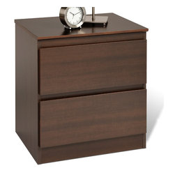 """Prepac - Avanti Espresso 2-drawer Nightstand - The Avanti 2 Drawer Nightstand not only goes with everything, it fits everything, too. Two full-sized drawers provide ample space for bedside essentials like books, while the clean design blends in perfectly with your bedroom's decor. Put your lamp, alarm clock and reading glasses on top, and enjoy a practical yet stylish bedside solution. Capitalize on storage and style by adding other pieces in the Avanti Bedroom Collection!; Drawer fronts show no visible hardware, using curved edge pulls on the top; Drawers run smoothly on metal glides with built-in safety stops; Clear lacquered real wood drawer sides; Finished in durable rich espresso laminate; Constructed from CARB-compliant, laminated composite woods and a sturdy MDF backer; Ships Ready to Assemble, includes an instruction booklet for easy assembly and has a 5-year manufacturer's limited warranty on parts; Proudly manufactured in North America; Dimensions: 19.75""""W x 21.5""""H x 16""""L"""