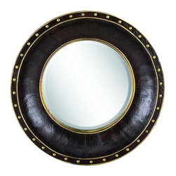 Benzara - Wood Leather Mirror Round Refreshing Home Decor - WOOD LEATHER MIRROR ROUND is an excellent anytime low priced wall decor upgrade option that is high in modern age decor fashion.