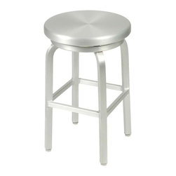Eurostyle - Eurostyle Miller Swivel Counter Stool w/ Aluminum Seat & Frame - Swivel Counter Stool w/ Aluminum Seat & Frame belongs to Miller Collection by Eurostyle If you need bar chairs that you never have to think about, meet your maker. Miller. Welded. Swivel. Indoor/outdoor. Sorry. Bartender not included. Counter Stool (1)