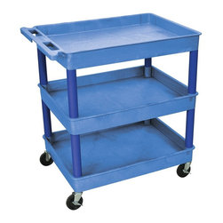Luxor Furniture - Tub Cart w 3 Shelves in Blue - Four heavy duty 4 in. casters, two with brake. Utility cart. Stain, scratch, dent and rust resistant. Push handle molded into top shelf. Reinforced shelves with two aluminum bars. Made from high density polyethylene structural foam molded plastic. Made in USA. Clearance between shelves: 10.75 in.. Shelf: 2.75 in. deepWarranty. Assembly Instructions