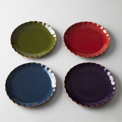"Horchow - Four ""Ruffle"" Dinner Plates - Exclusively ours. With ruffled edges and assorted colors, this set of dinner plates adds texture and warm color to table settings and buffet service. Handcrafted of terra cotta. Hand-painted finish. Dishwasher, microwave, and oven safe. Set of fou..."