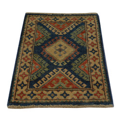 1800-Get-A-Rug - Denim Blue Kazakh Hand Knotted Oriental Rug Tribal Design Sh18494 - Our tribal & geometric hand knotted rug collection consists of classic rugs woven with geometric patterns based on traditional tribal motifs. You will find Kazak rugs and flat-woven Kilims with centuries-old classic Turkish, Persian, Caucasian and Armenian patterns. The collection also includes the antique, finely-woven Serapi Heriz, the Mamluk Afghan, and the traditional village Persian rug.